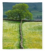 Dry Stone Wall And Lone Tree Fleece Blanket