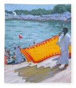 Drying Sari Pushkar  Fleece Blanket