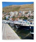 Dubrovnik Cityscape And Harbor Fleece Blanket
