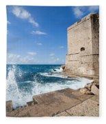 Dubrovnik Fortification And Pier Fleece Blanket