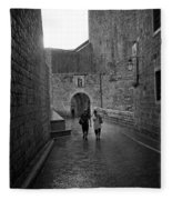Dubrovnik In The Rain Fleece Blanket