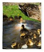 Duck Family Joy In Garden  Fleece Blanket