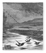Duck Hunting, 1871 Fleece Blanket