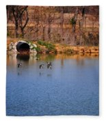 Ducks Flying Over Pond I Fleece Blanket