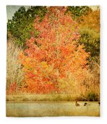 Ducks In An Autumn Pond Fleece Blanket
