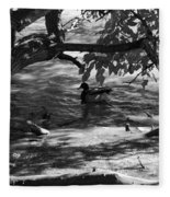 Ducks In The Shade In Black And White Fleece Blanket