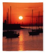 Dun Laoghaire Harbour, Co Dublin Fleece Blanket