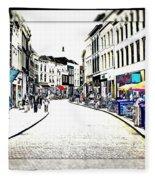 Dutch Shopping Street- Digital Art Fleece Blanket