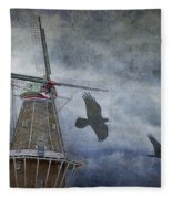 Dutch Windmill With Ravens Fleece Blanket
