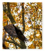 Eagle In Autumn Fleece Blanket