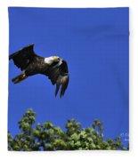 Eagle Over The Tree Top Fleece Blanket