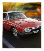 Early 60s Red Thunderbird Fleece Blanket