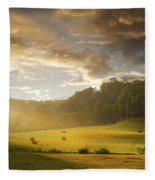 Early Am Fog And Stormey Light Fleece Blanket