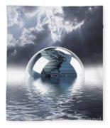 Earth Globe Reflection Fleece Blanket
