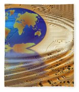 Earth In The Printed Circuit Fleece Blanket