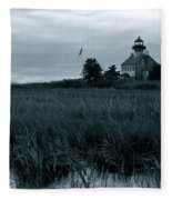 East Point Light Before The Storm  Fleece Blanket