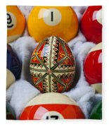 Easter Egg Among Pool Balls Fleece Blanket