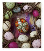 Easter Egg With Wreath Fleece Blanket