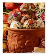 Easter Eggs In Flower Pot Fleece Blanket