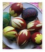 Easter Eggs. Plant Print And Wax Drawing. Fleece Blanket