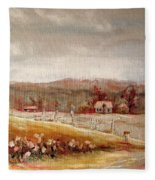 Eastern Townships Quebec Painting Fleece Blanket