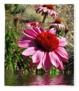 Echinacea In Water Fleece Blanket