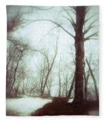 Eerie Winter Woods Fleece Blanket