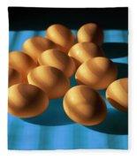 Eggs On Blue Lit Through Venetian Blinds Fleece Blanket