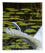 Egret Take Off Fleece Blanket