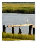 Egrets In The Salt Marsh Fleece Blanket