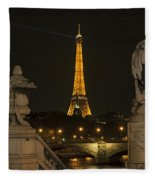 Eiffel Tower And The Seine River From Pont Alexandre At Night Fleece Blanket