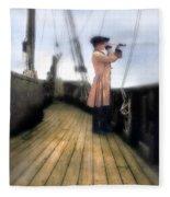 Eighteenth Century Man With Spyglass On Ship Fleece Blanket