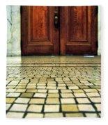 Elegant Door And Mosaic Floor Fleece Blanket