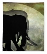 Elephants On Moonlight Walk 2 Fleece Blanket