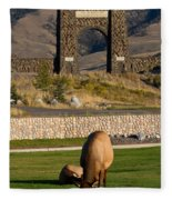 Elk At Yellowstone Entrance Fleece Blanket