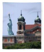 Ellis Island And Statue Of Liberty Fleece Blanket