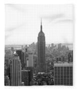 Empire State Building In Black And White Fleece Blanket