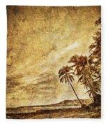 Empty Tropical Beach 3 Fleece Blanket
