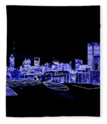 Energetic Atlanta Skyline - Digital Art Fleece Blanket