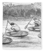 England: Coracle Race, 1881 Fleece Blanket