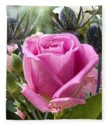 English Pink Rose Close Up Fleece Blanket