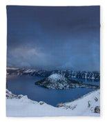 Enveloping Storm At Crater Lake Fleece Blanket