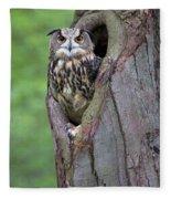 Eurasian Eagle-owl Bubo Bubo Looking Fleece Blanket