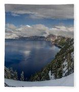 Evening At Crater Lake Panorama Fleece Blanket