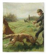 Exercising Greyhounds Fleece Blanket