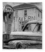 Expired A Black And White Photograph Of A Tavern Parking Meters And Vintage Junk Auto Fleece Blanket