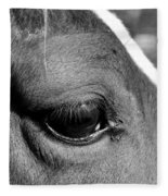 Eye Of The Horse Black And White Fleece Blanket