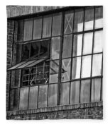 Factory Air In New Orleans In Black And White Fleece Blanket