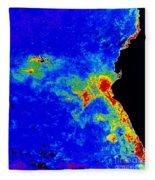 Fal-col Satellite Image Of Coastal Fleece Blanket