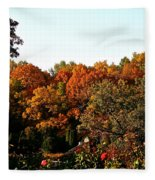 Fall Foliage And Roses Fleece Blanket
